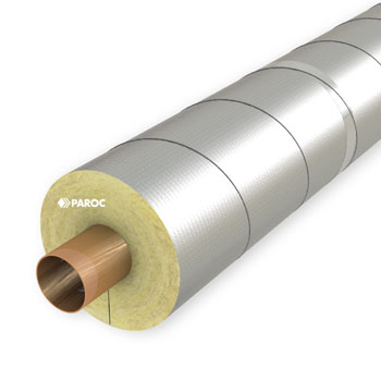 Hvac pipe insulated with PAROC Hvac Section AluCoat T