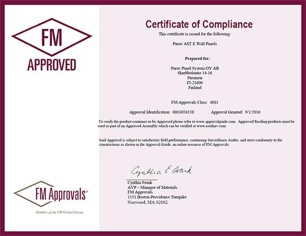 FM 4881 approval for PAROC AST E exterior wall panels - Paroc