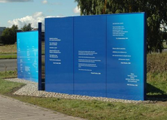 Wall of poetry by Paroc Panel Systems, poets, Turku Central Park
